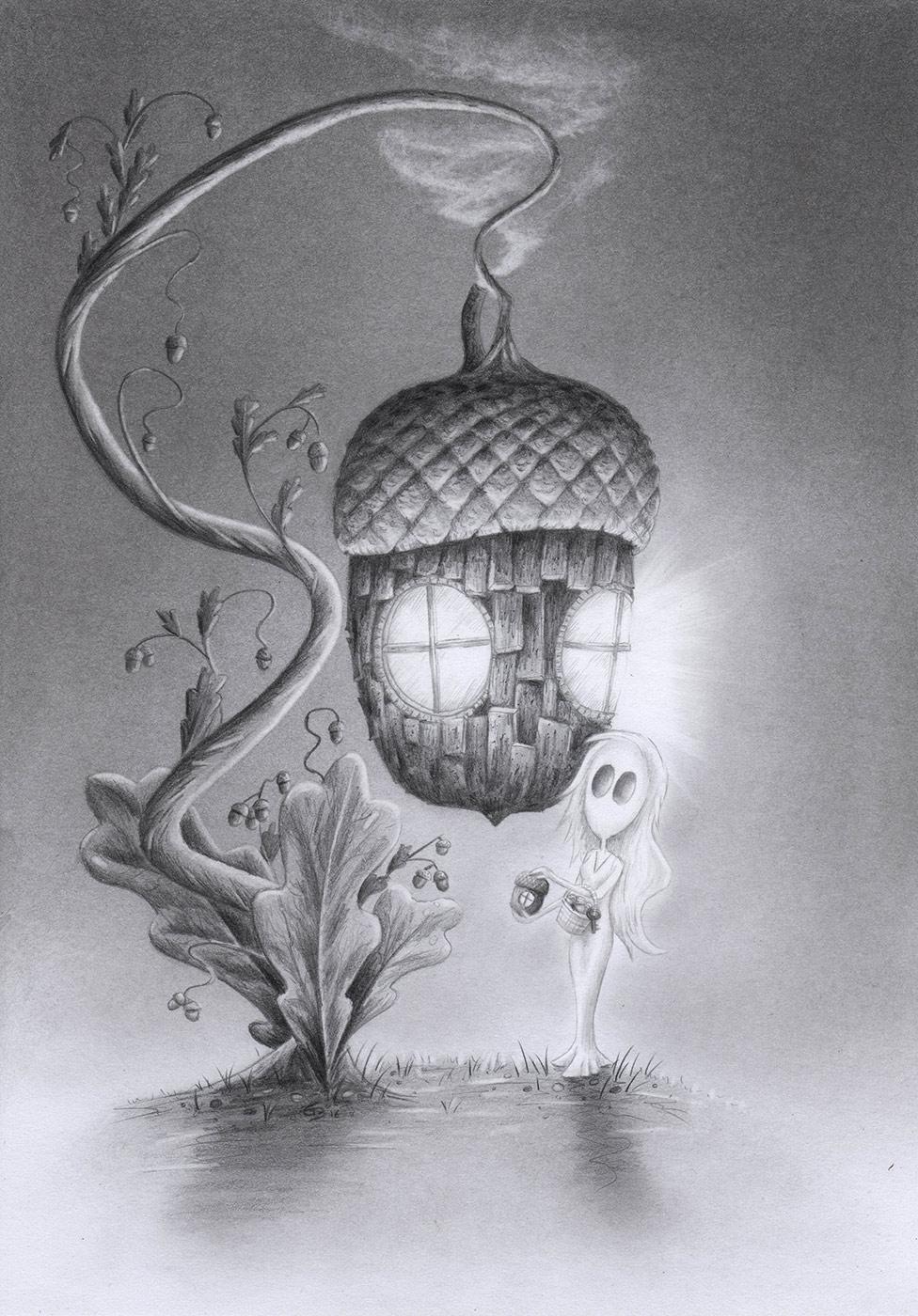 Nusshaus zeichnen, Eichelhaus malen