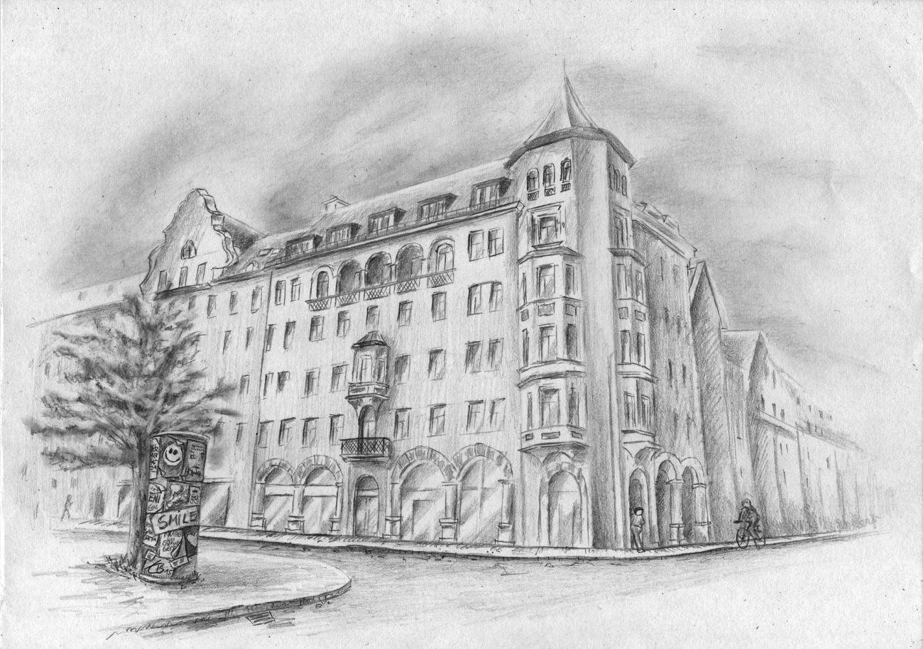 Fenster bleistiftzeichnung  Häusserfassade, Haus, Gebäude, Altstadt zeichnen
