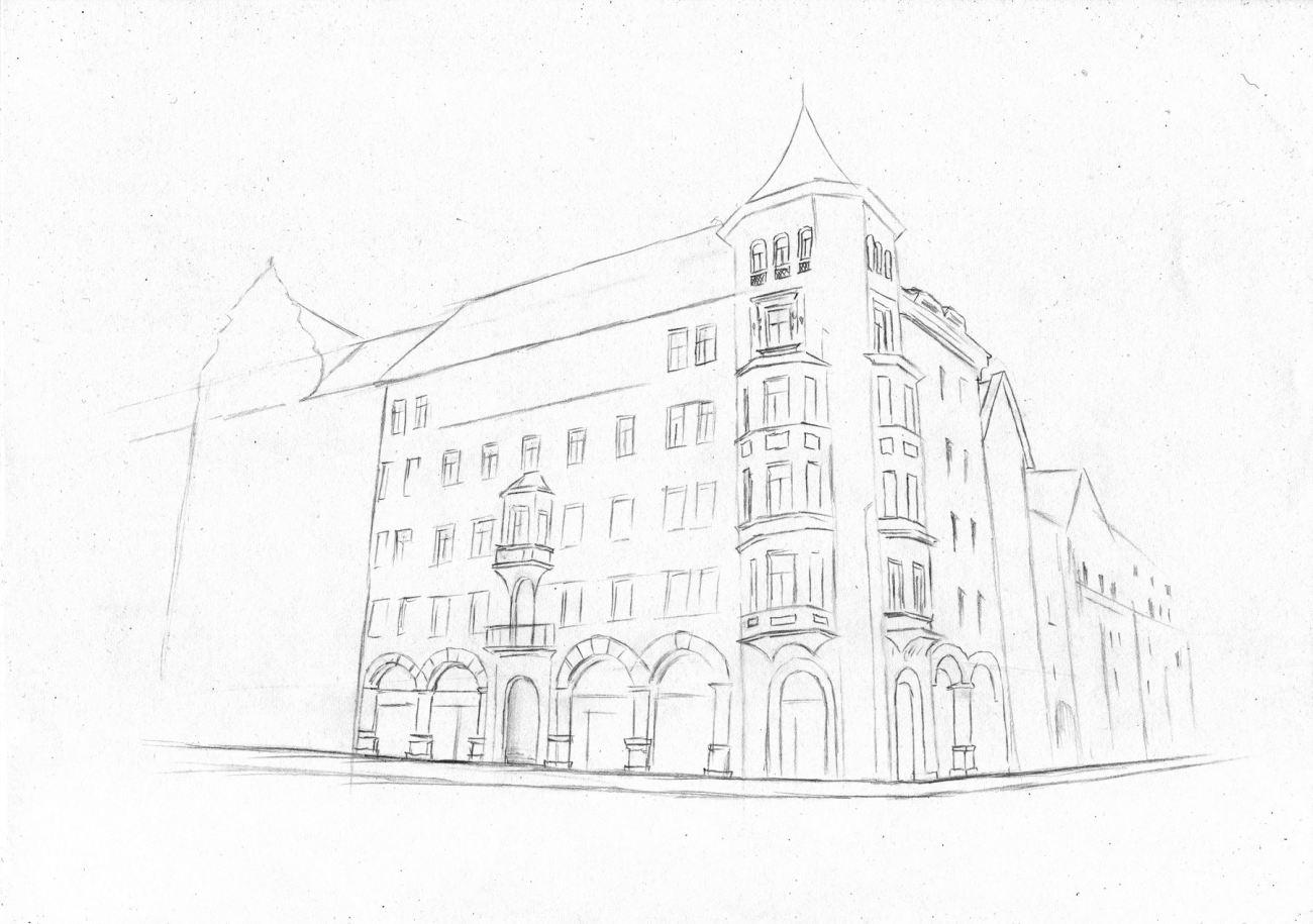 Hausserfassade Haus Gebaude Altstadt Zeichnen