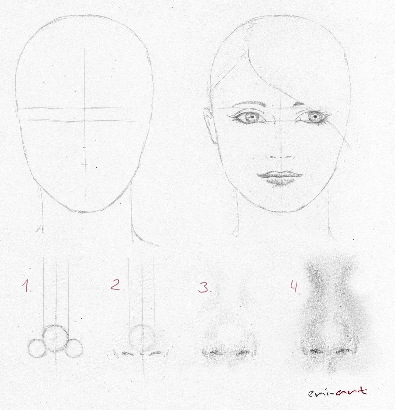 Nase Skizzieren Und Zeichnen