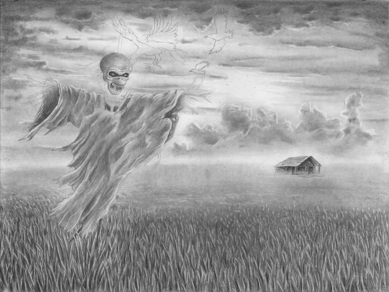 Zeichnen lernen - Eine Zeichnung mit Himmel Gras und Feld - Zeichenkurs