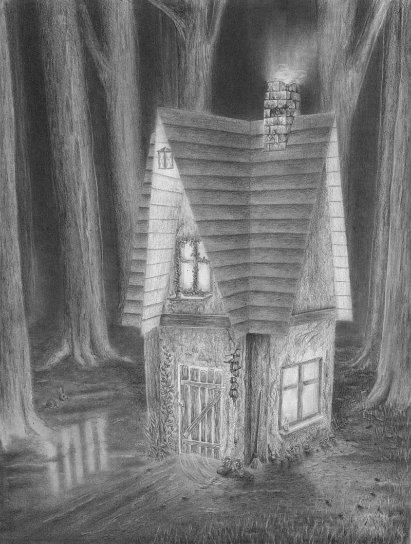 haus im dunklen wald zeichnen lernen zeichenkurs. Black Bedroom Furniture Sets. Home Design Ideas